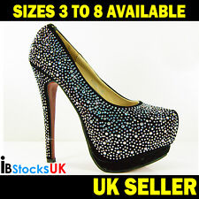 Ladies Womens Black Bridal Wedding Party Prom High Heel Court Shoes K078-1 HOT