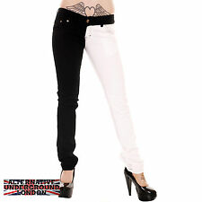 SKINNY STRETCH JEANS BLACK & WHITE SPLIT LEG PANTS PUNK GLAM DISCO JESTER ROCK