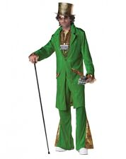 Mens Adult Deluxe Green Money Pimp Playa Hustla Costume Outfit W/ Top Hat