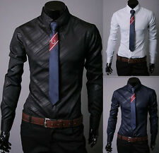 New Stylish Black Stripe Casual Shirt Slim fit Men's Dress Shirts Size M-XXXL