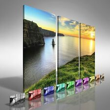 Cliffs of Moher Ireland Treble Canvas Print Large Picture Wall Art
