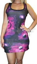 NEW PURPLE GALAXY PLANETS PRINT LONG VEST TANK TOP SHORT DRESS GOTH PUNK EMO