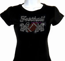 Zebra Football Mom - B&W - Iron On Rhinestone T-Shirt - Pick Size S-3XL- Top