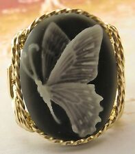 R470 Butterfly Cameo Ring 14k Rolled Gold Grey Fine Jewelry