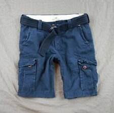 Hollister Mens Faria Beach Cargo Shorts With Belt Navy Military 28 30 31 32 NWT!
