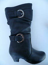 NEW BLACK BOOTS SHOES YOUTH KIDS GIRLS SIZE 9-12