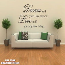 DREAM LIVE WALL ART QUOTE STICKER - BEDROOM LOUNGE LOVE DECAL