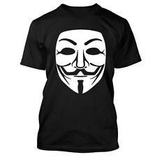 V For Vendetta Guy Fawkes Anonymous Mask Mens Black T-Shirt NEW hackers