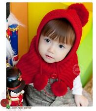New Warm Cute Kids Toddlers Hooded Cape Scarf Shawl Knitting 2-8 Y H058