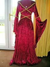 UK  Maid Marian medieval pagan Wedding dress handfasting laced bodice LOTR LARP