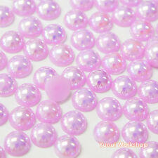 Fantasy Purple AB (2mm - 10mm) Flatback Half Pearl Round Scrapbook Nail Craft