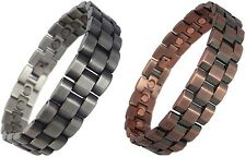 Mens Chunky Link Magnetic Therapy Bracelets in Copper or Gunmetal 21.5 cm Bangle