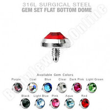 Dermal Anchor Tops 4mm Flat CZ 14g Surgical Steel