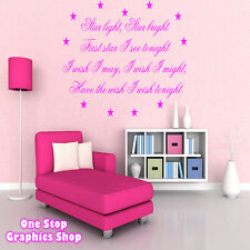STAR LIGHT STAR BRIGHT WALL ART QUOTE STICKER -  BEDROOM LOUNGE LOVE KIDS DECAL