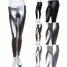 Sexy Shiny Faux Leather Solid Metallic Leggings Skinny MOTOCYCLE Pants Spandex