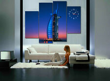 Dubai famous landmark Burj Al Arab Hotel night view modern canvas print set of 4