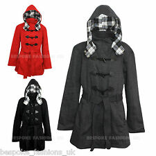 NEW WOMEN'S PLUS SIZES HOODED DUFFLE LADIES TRENCH COAT JACKET SIZES 16-28