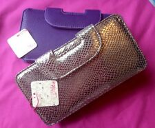Faux Leather Ladies Bifold Purse with removable coin purse silver/purple