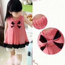 New Charming Kids Toddlers Girls Lovely Bow Knot Shirt Tops Long Dress 3-8 T105