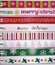 5 metres Christmas satin RIBBON 9mm (8 options U Pick)