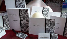 black and white damask wedding stationary from £1.25 - MANY ITEMS AVAILABLE