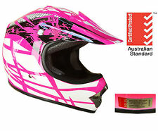 KIDS YOUTH MOTOCROSS HELMET S M L DIRT BIKE PEEWEE QUAD BMX PINK 5 tick approved