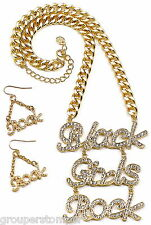Black Girls Rock Necklace And Earring Set New Iced Out Pendant Hip Hop Fashion