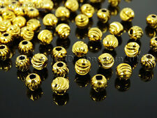 100Pcs 22K Gold Vacuum Plated Solid Metal Round Spacer Beads 3mm 4mm 5mm 6mm