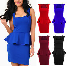 Ladies Square Neck Slim Effect Peplum Frill Bodycon Women's Dress 8-20