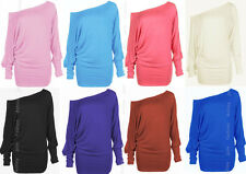 Womens PLUS SIZE Batwing Top Off Shoulder Plain Long Sleeve T Shirt Top 16-26