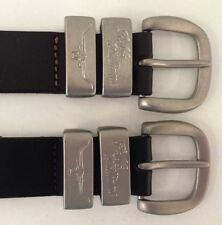 """RM Williams 1.5"""" Solid Hide Belt with 2 Engraved Silver Keepers  439"""