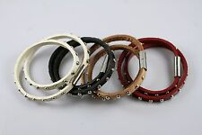 4 color Rivet Punk PU Leather Bracelet Bangle Wristband Magnetic Lock Buckle