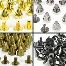 LOT 9mm Gold/Silver/Black Cone Screw Metal Studs Leathercraft Rivet Bullet Spike