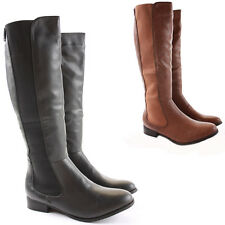 Womens Winter Biker Riding Style Low Flat Heel Wide Calf Leg Knee Boots Size