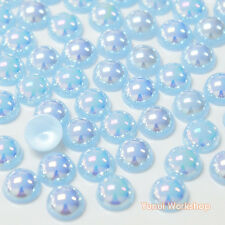Fantasy Light Blue AB (2mm - 10mm) Flatback Half Pearl Round Scrapbook Craft