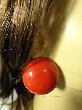 LARGE 1.5 INCH MOUNTED ROUND EARRINGS PIERCED EARRINGS WHITE BLACK OR RED