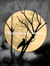 Crow Against Full Moon Signed Original Handmade Matted Picture Art Print A254