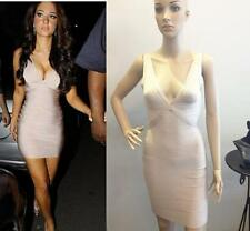 Celebrity Evening Sexy V-NECK KHAKI BANDAGE DRESSES BODYCON PARTY DRESS