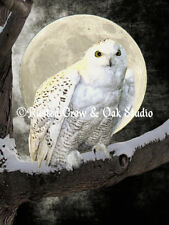 White Snowy Owl Bird Tree Moon Black Wall Art Home Decor Matted Picture A274