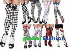 LADIES STRIPED CHEQUERED HEART SAILOR BOW STOCKINGS TIGHTS THIGH HIGH HOLD UPS