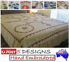 HAND CRAFTED EMBROIDERED NEEDLEWORK FLAT BED SHEET LINEN-100%COTTON-3 PIECE SET
