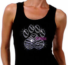 (L) Zebra B&W Paw Print Iron on Rhinestone Tank Top -Pick Size S-3XL- Shirt