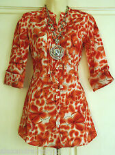Fab Boden Red Floral Print Linen Blouse Tunic Top 8 10 12 14 16 18