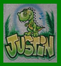Custom Airbrushed T-REX  kid BABY DESIGN WITH NAME T-Shirt D-617