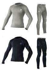 Mens Cold Gear Compression Baselayer Thermal Skin Top Long Sleeve Shirt+Leggings