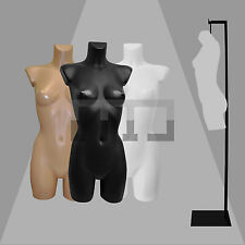 HIGH QUALITY FEMALE MANNEQUIN TORSO BODY FORM DISPLAY BUST WITH OPTIONAL STAND