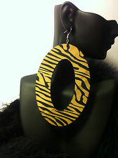 POPARAZZI INSPIRED DIVA MOB WIVES 4 1/2' INCH ZEBRA OVAL FASHION EARRINGS
