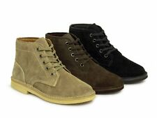 Roamers Mens 5 Eyelet Soft Suede Leather Army Desert Boots Black Taupe Brown New
