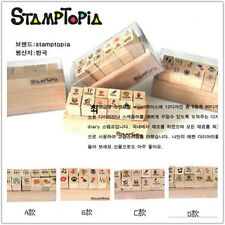 New  Stamptopia 12pcs Cute mini Wooden Rubber Stamp
