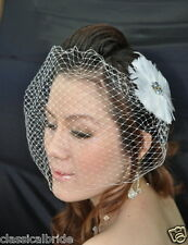 Bandeau 902 VEIL SET w/ RHINESTONE Feather Fascinator & Ivory or White Birdcage